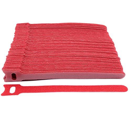 Yiwan - Bridas reutilizables para cables de viaje, organizador de cables debajo del escritorio para ordenador/PC/portatil/TV/electronica, 50 unidades rosso