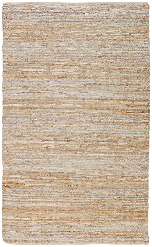 Rivet Leather and Metallic Faded Lines Rug, 5' x 8', Beige & Silver by Rivet
