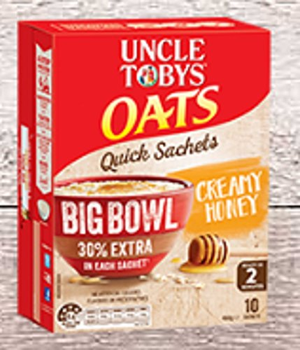 uncle-tobys-oats-10-x-big-bowl-30-extra-sachets-cream-honey