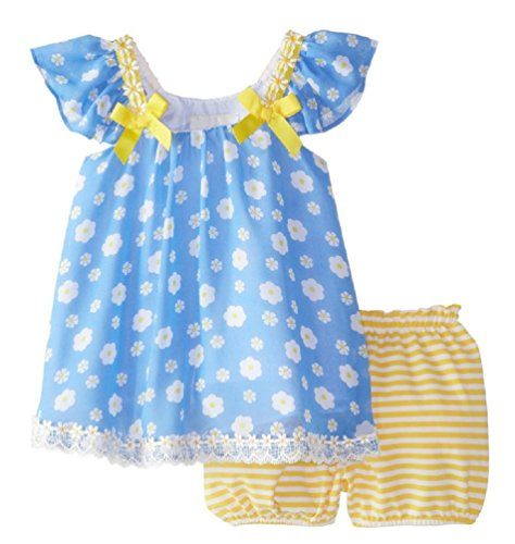 Rare Editions Baby Girl Chiffon Daisy Print Shorts Set (0m-4t) (4t)