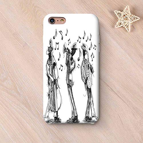 (Jazz Music Decor Stylish Compatible with iPhone Case,Sketch Style of a Jazz Band Playing Music with Instruments and Musical Notes Print Compatible with iPhone X,iPhone 6 Plus / 6s Plus )