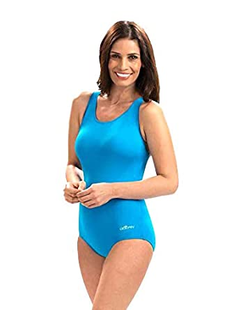 a06c4458dfe Dolfin Women's Conservative Solid Lap One Piece Swimsuit (Turquoise, ...