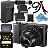 Panasonic Lumix DMC-ZS100 Digital Camera (Black) DMCZS100K + DMW-BLG10 Lithium Ion Battery + External Rapid Charger + Sony 128GB SDXC Card + Small Case + Flexible Tripod Bundle