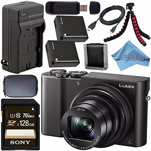 Panasonic Lumix DMC-ZS100 Digital Camera (Black) DMCZS100K + DMW-BLG10 Lithium Ion Battery + External Rapid Charger + Sony 128GB SDXC Card + Small Case + Flexible Tripod Bundle