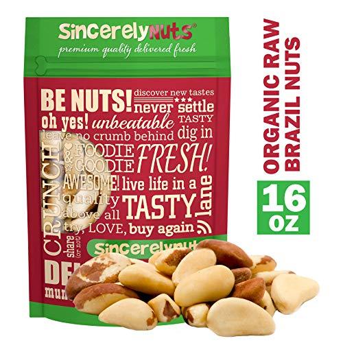 Sincerely Nuts Organic Raw Brazil Nuts No Shell (1 Lb. Bag) -Premium Healthy Snack Food | Whole, Kosher, Vegan, Gluten Free | Keto & Paleo Diet Friendly |Gourmet Snack | Vitamins & Minerals