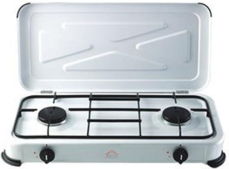 DCG Eltronic - Cocina de camping, de 2 fuegos, a gas, para ...