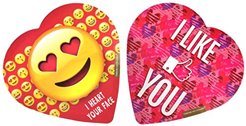 Pack of 2 Assorted Elmer Chocolates (Made in USA) in Heart-Shaped Boxes, 2 oz. Perfect for Valentine's Day Gifts! (Emoji & I LIKE YOU)