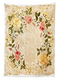 Vintage Decor Tablecloth Oval Shape Flor