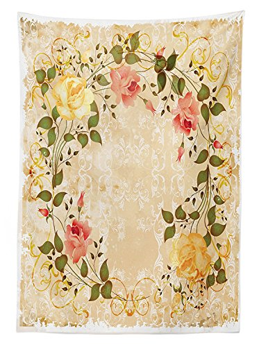 Vintage Decor Tablecloth Oval Shape Floral Crown with Leaves and Roses over Damask Motif Shabby Boho Decor Dining Room Kitchen Rectangular Table (Butterfly Tie Dye Bandana)