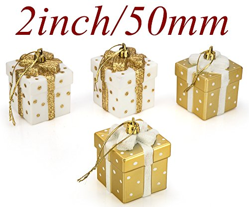 "SANNO 2"" Christmas Balls Ornaments,Christmas Tree Gift Box Shatterproof Decorations White/Gold Shatterproof Gift Boxes Xmas Tree Hanging Ball Ornaments for Party, Weddings, Birthdays, 4pcs/ Set,"