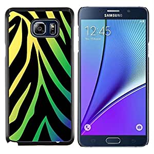 KLONGSHOP // Cubierta de piel con cierre a presión Shell trasero duro de goma Protección Caso - Patrón de neón de la cebra - Samsung Galaxy Note 5 5th N9200 //