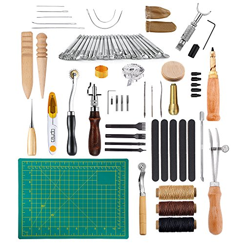 Caydo 69 Pieces Leather Craft Stamping Tools with Matting Cut, Stitching Groover, Prong Punch, Leather Working Saddle Making Stamps Tools for DIY Leather Craft Man (Set Rope Carving)