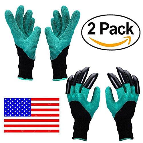 Garden Genie Gloves ,AINATU Garden Glove With Claw, Garden Gloves Easy for Digging for Digging and Planting, 2 pairs (Claws on EACH Hand 1 pair, No claw 1 pair) ()
