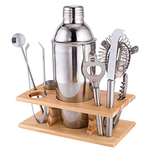 Xena 9 Piece Stainless Steel Bar Cocktail Shaker Set Bamboo Holder Barware Bartender Utensils Kit Accessories