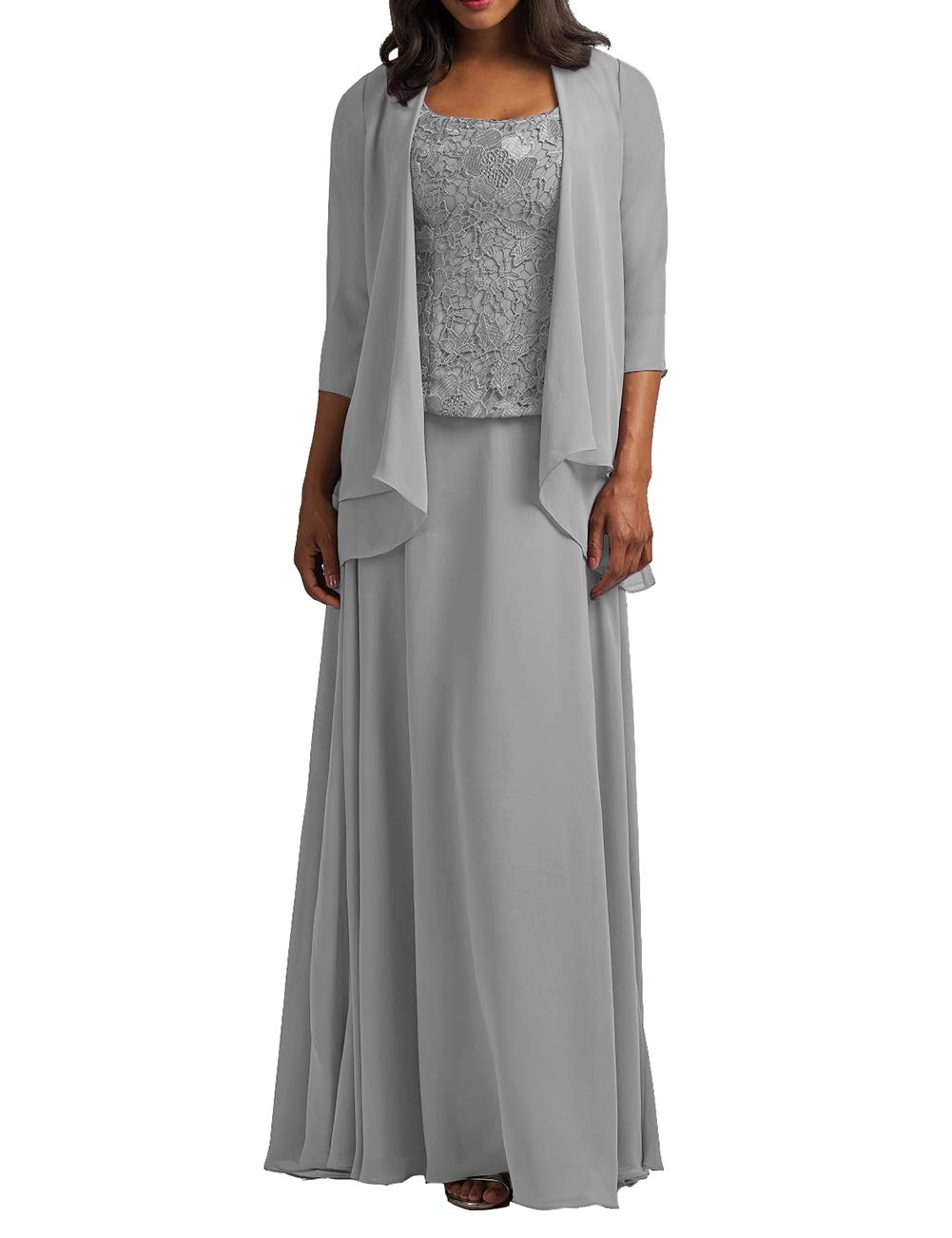 Chiffon Mother of The Bride Dress with Jacket Lace Prom Dress Formal  Evening Gowns Long Plus Size Silver US 16W