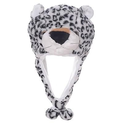 Animal Head Super Soft Plush Childrens Hat - Snow Leopard: Clothing
