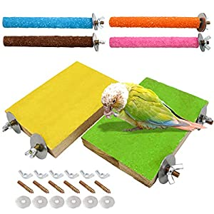 6 Pcs Bird Perch Stand Toy, Wood Parrot Stand Platform Colorful Sand Paw Grinding Stick Cage Accessories Exercise Toys…
