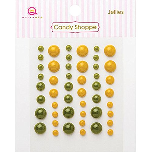 Jellies Embellishments - Queen & Co Candy Shoppe Self-Adhesive Jellies Dots Embellishments, 4, 6 and 8mm, Green