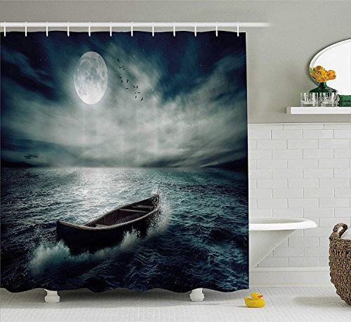 iodjfx Fishing Decor Shower Curtain, Boat Drifting in Ocean Full Moon Dramatic Night Sky Life Hope Concept, Fabric Bathroom Decor Set with Hooks,Dark Blue White 60X72 (Concept Two Premium Boat)