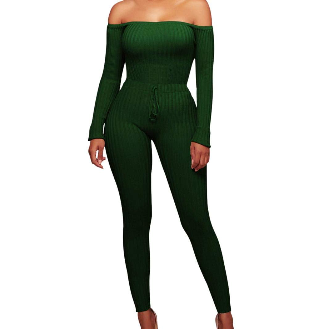 Minisoya Women Long Sleeve Bodycon Clubwear Casual Cocktail Party Romper Playsuit Long Pants Off Shoulder Jumpsuit (Green, XL)