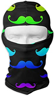 deyhfef Rainbow Mustache Balaclava UV Protection Windproof Ski Face Masks for Cycling Outdoor Sports Full Face Mask Breathable