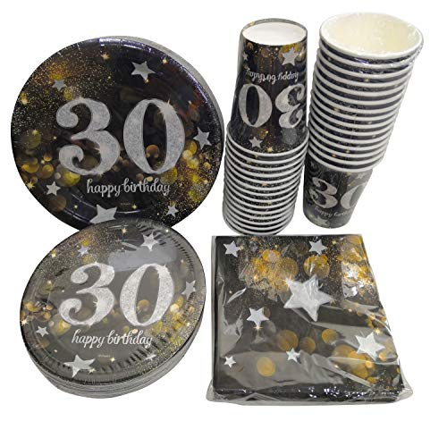 Serves 30 | Complete Party Pack | Happy 30th Birthday | 9