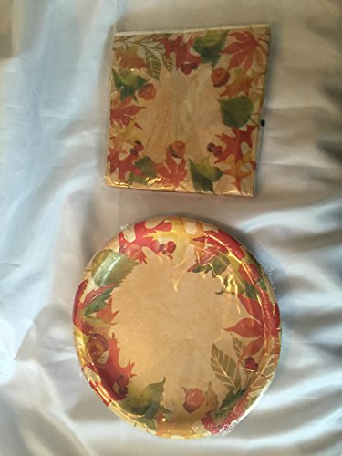 Autumn Fall Leaves Party Paper Plates and Napkins Set by Autumn -