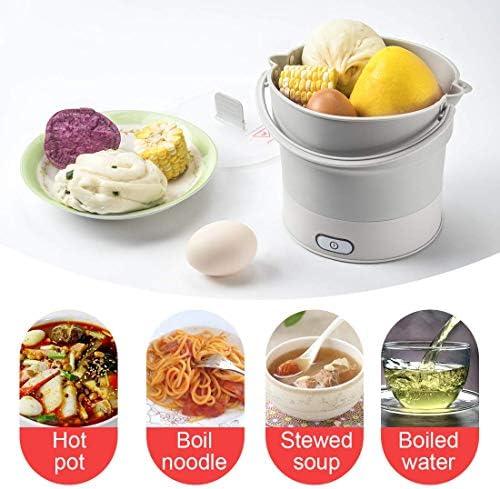 FengJ Hot Pot elettrica Portatile Pieghevole, Silicone per Uso Alimentare Viaggi Cucina Esterna Bollitore Steamer Bollitore Protezione asciutta Portatile con Doppia Tensione, 0.6L