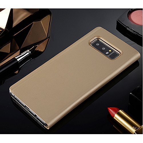 Leather Case with Stand for Huawei Honor V10,Bookstyle Flip Case Cover for Huawei Honor V10,Leecase Mirror Effect Transparent View Standing Function for Huawei Honor V10-Gold by Leecase (Image #2)