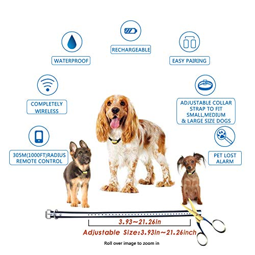 Wireless Dog Fence Electric Pet Containment System, Safe Effective No Randomly Shock Design, Adjustable Control Range 1000 Feet & Display Distance, Rechargeable Waterproof IPX7 Collar (2 Dog System) by JUSTSTART (Image #5)