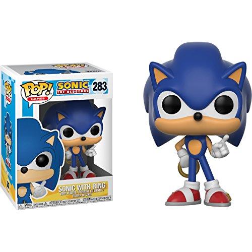 Sonic w/ Ring: Sonic The Hedgehog x Funko POP! Games Vinyl Figure & 1 PET Plastic Graphical Protector Bundle [#283 / 20146 - B] ()