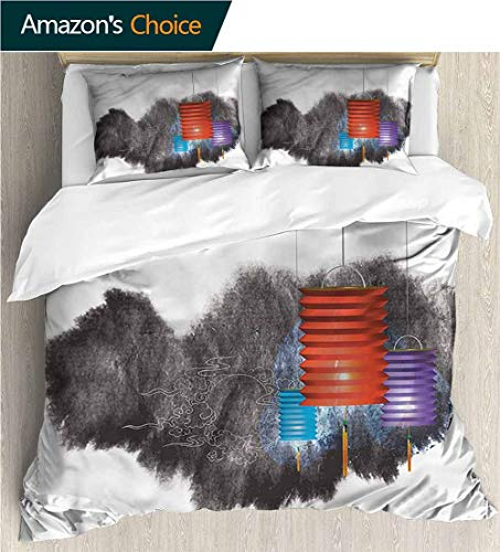 carmaxs-home 3D Bedding Quilt Set,Box Stitched,Soft,Breathable,Hypoallergenic,Fade Resistant Decorative 3 Piece Bedding Set with 2 Pillow Sham-Lantern Mid Autumn Festival (87