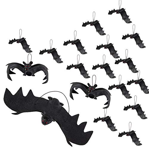 Apipi 18 Pieces Halloween Realistic Hanging Bats,Spooky Looking Bats- Fake Rubber Bats for Halloween Party Supplies and Decoration (3 Assorted Sizes)]()
