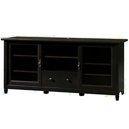 Rustic Media Cabinet With Glass Doors And Adjustable Shelves Drawer Wooden  Black 55 Inch TV Stand