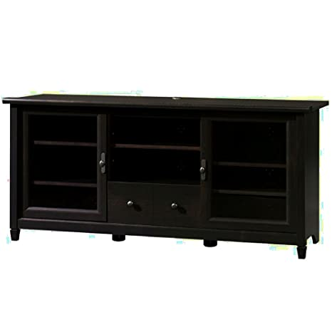 Amazon Com Rustic Media Cabinet With Glass Doors And Adjustable