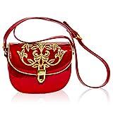 Valentino Orlandi Italian Designer Red Embroidered Leather Circle Messenger Mini Purse Bag