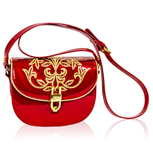 Valentino Orlandi Italian Designer Red Embroidered Leather Circle Messenger Purse - Valentino Sunglasses 2017