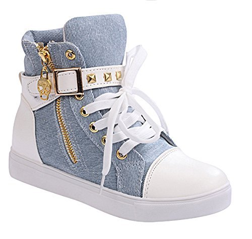 Maybest Womens Autumn Rivets High-top Scarpe Di Tela Casual Blu