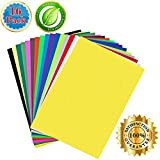 Heat Transfer Vinyl 2018- 16 Color Iron On HTV Bundle- DIY Tshirts Summer Dresses Birthday Gifts- Ecofriendly 11.5 X 8.5 Adhesive Sheets- Heat Press Crafting Supplies for Cricut and Silhouette