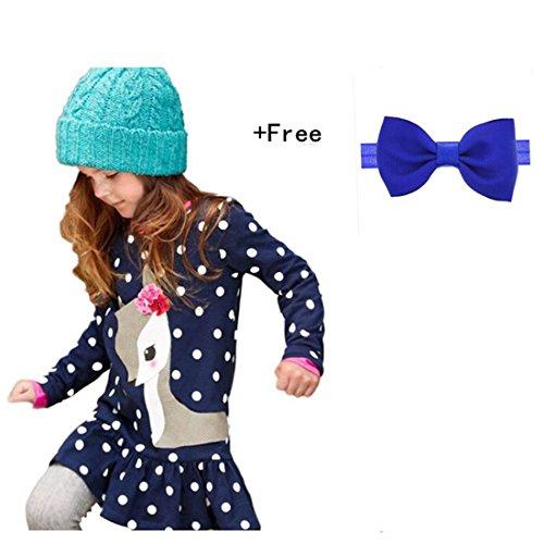 Amlaiworld Baby Mädchen Kinder Herbst Kleidung Langarm Rehe an der Spitze Kleid (110, Dunkelblau)