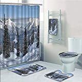 Bathroom 5 Piece Set shower curtain 3d print Customized,Farmhouse Decor,Epic Winter Landscape with Snowy Pine Trees in Switzerland Woods Print,White Green,Bath Mat,Bathroom Carpet Rug,Non-Slip,Bath To