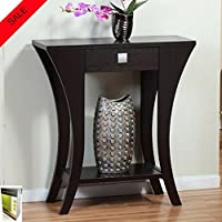 Accent Table For Living Room Modern Design Rectangular Shape Curvy Legs With Drawer Assembly Required For Entryway Or A Sofa Finish Very Dark Brown And E- book by TSR