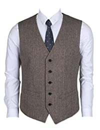 Ruth&Boaz 2Pockets 5Buttons Wool Herringbone Business Suit Vest