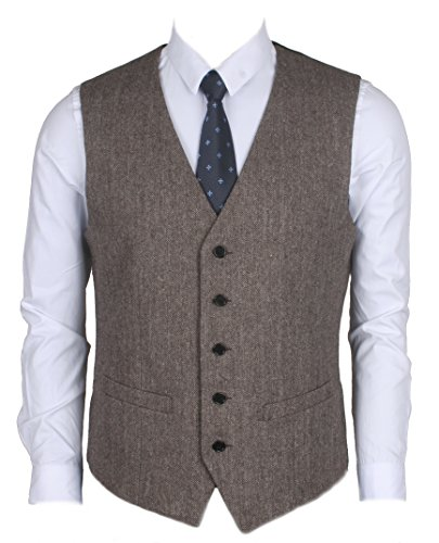 c6f5d90e0cb7c Ruth Boaz 2Pockets 5Buttons Wool Herringbone   Tweed Business Suit Vest  (XXL