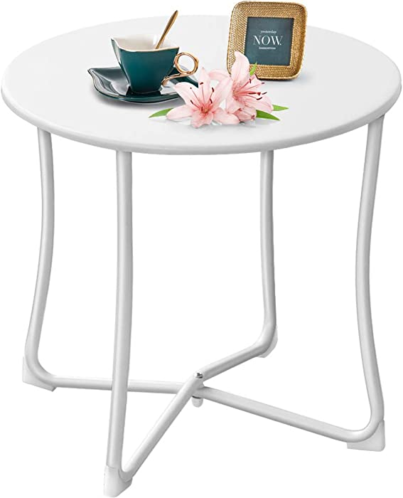 "Amagabeli Metal Patio Side Table 18"" x 18"" Heavy Duty Weather Resistant Anti-Rust Outdoor End Table Small Steel Round Coffee Table Porch Table Snack Table for Balcony Garden Yard Lawn, White"