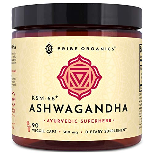 KSM-66 Ashwagandha Organic 100% Pure Root Extract | 90 Vegetarian Capsules | Highest Efficacy 5% Withanolides | Stress & Anxiety Relief, Cortisol Manager, Adrenal & Thyroid Support, Memory & Focus