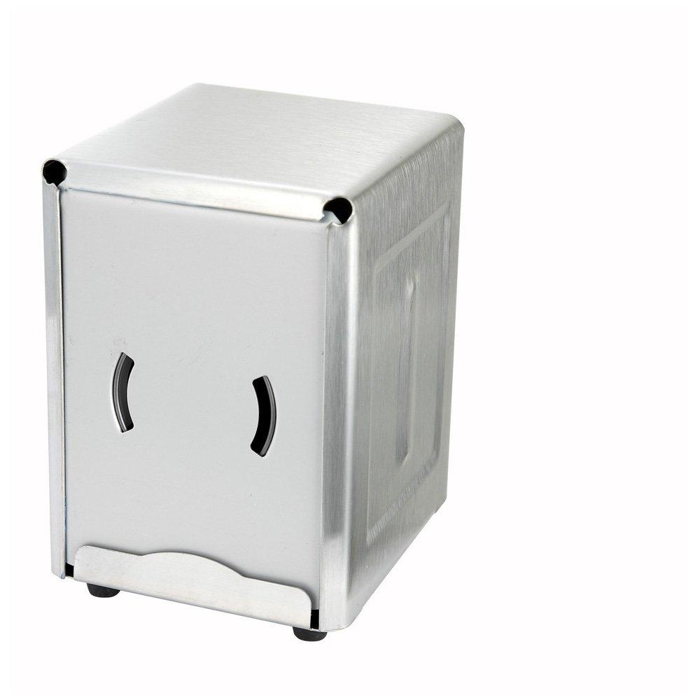 Winco NH-5, Stainless Steel Half-Size Dispenser For 3.5'' x 5'' Napkins, Tabletop Low Fold Restaurant Napkin Dispenser