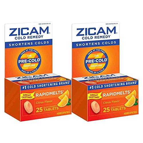 Zicam Cold Remedy Rapidmelts, Citrus Flavor, 25 Quick-Dissolve Tablets (Pack of 2)