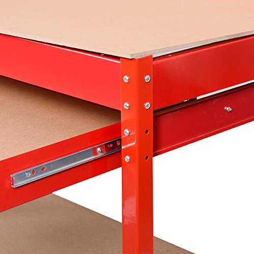 Goplus Steel Workbench Tool Storage Work Bench Workshop Tools Table W/ Drawer and Peg Board,Red by Goplus (Image #3)