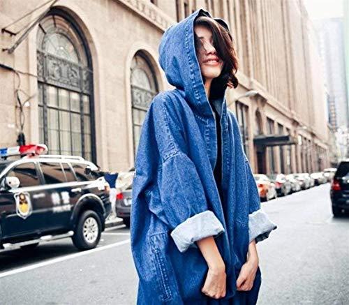 Manica Giacca Jeans Fashion Outwear Giubbino Autunno Libero Sciolto Blau Denim Eleganti Donna Blu Stile Tempo Cappuccio Ragazze Con Cappotto Festa Style Fidanzato Lunga Jacket Primaverile 0Cqr0A